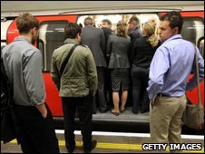Commuters unable to get on a Tube train