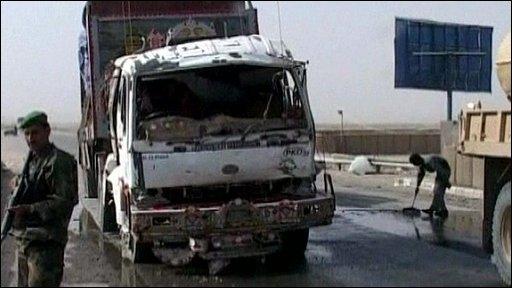 Truck damaged in suicide bomb near Kandahar