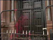 Paint was thrown at an Orange hall in Belfast