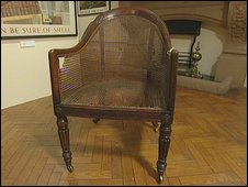 The mahogany bergere chair believed to have been used by Napoleon