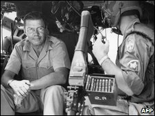 McNamara in US helicopter during one-day visit to South Vietnam in 1965