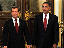 Russian President Dmitry Medvedev and US President Barack Obama in Moscow