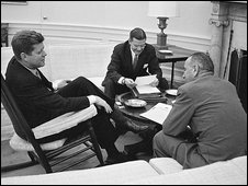 John F Kennedy, Robert McNamara and Vice President Johnson in March 1961
