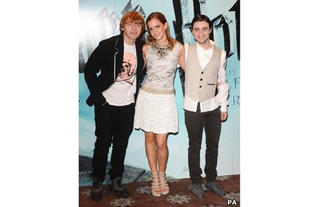 Rupert Grint (Ron Weasley), Emma Watson (Hermione Granger) and Daniel Radcliffe (Harry Potter)