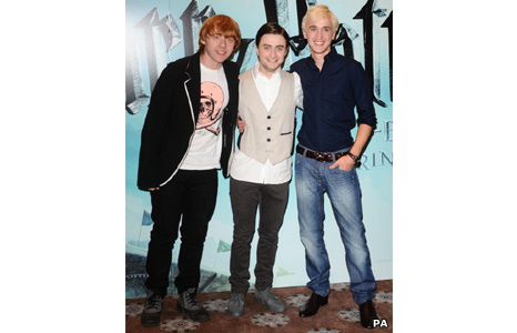 Rupert Grint (Ron Weasley), Daniel Radcliffe (Harry Potter) and Tom Felton (Draco Malfoy)