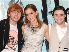 L-R: Rupert Grint, Emma Watson, and Daniel Radcliffe