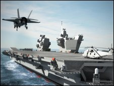 Computer-generated image of aircraft carrier