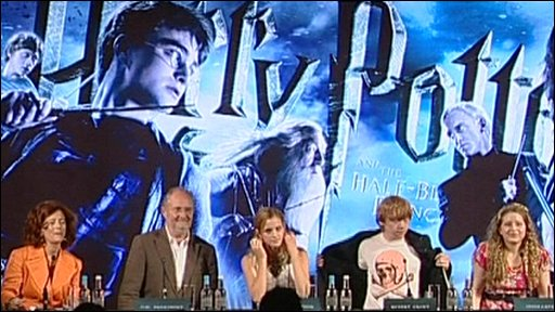 Some of the cast of Harry Potter and the Half-Blood Prince at a press conference about the film