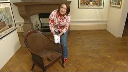 Fiona Woolley with the chair at Maidstone Museum