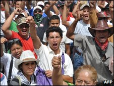 Supporters of ousted Honduran President Manuel Zelaya at protest rally
