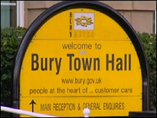 Bury Town Hall sign