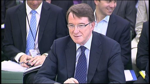 Lord Mandelson giving evidence to MPs