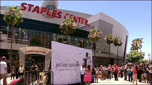 The Staples Center where the Michael Jackson memorial event is being held