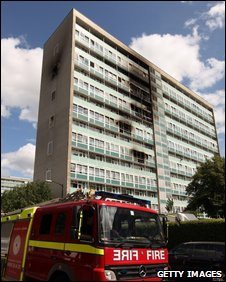 The burnt tower block in Camberwell