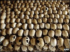 Skulls of victims from the 1994 Rwanda genocide