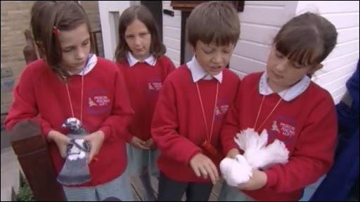 Pupils with their pigeons