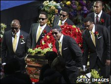 The Jackson brothers carry the casket in LA, July 7