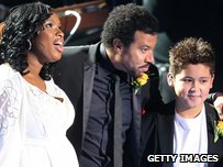 "Singers Jennifer Hudson, Lionel Richie and Shaheen Jafargholi, winner of ""Britain""s Got Talent,"" stand on stage at the Michael Jackson public memorial  service"