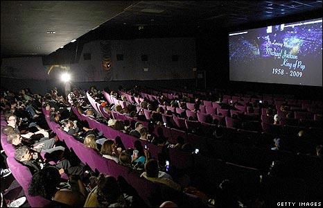 Memorial watchers at US cinema