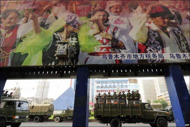 Chinese troops in Urumqi, 8 July