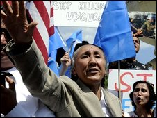 Rebiya Kadeer at a protest in Washington
