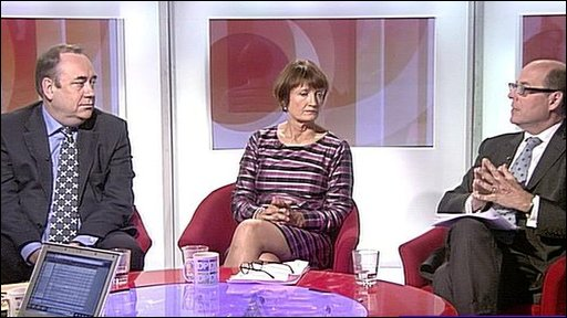 Alex Salmond, Tessa Jowell and nick Robinson