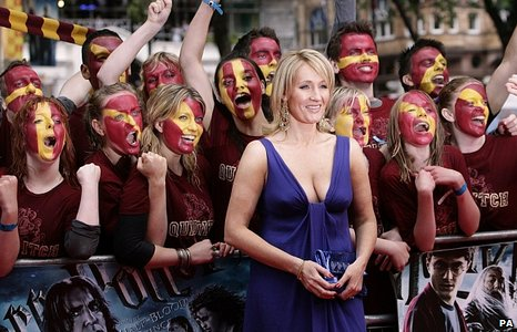 JK Rowling with Harry Potter fans