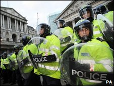 Police at G20 protests in London