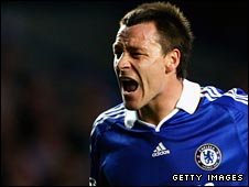 Chelsea captain John Terry yells instructions against Barcelona in the Champions League semi-finals