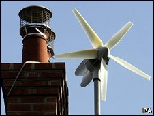 Small-scale domestic wind turbine (Image: PA)