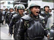 Chinese police patrol in Urumqi, 8 July 2009