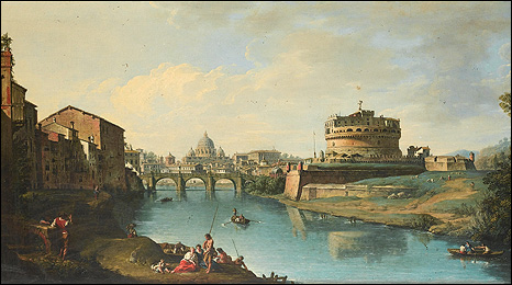 View of the Tiber looking towards the Castel Sant Angelo with St Peter's in the distance, by Giuseppe Zocchi.
