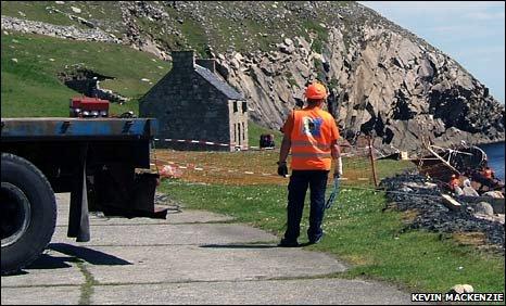 Lorry and salvers on St Kilda