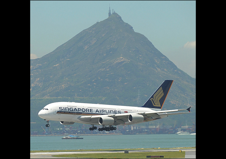 Airbus landing at Hong Kong airport