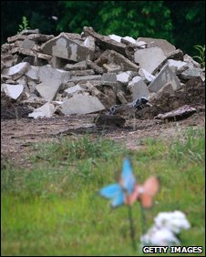 Debris at the Burr Oak Cemetery, Alsip, 8 July 2009