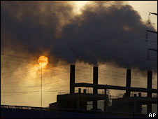 Clouds of smoke billow from a metal alloy factory in China. File photo