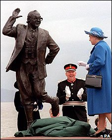 The memorial to the late star was unveiled on Morecambe Promenade by the Queen