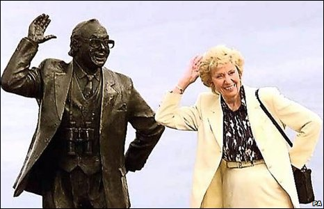 Eric's widow Joan was at unveiling of the memorial statue which features some of Eric's famous sayings and the names of 103 celebrities who starred alongside him