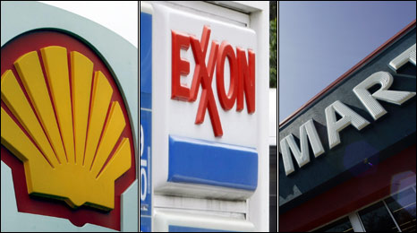 Shell, Exxon and Wal-Mart logos