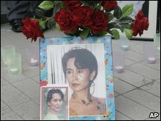 Portraits of Aung San Suu Kyi in Bangkok during her 64th birthday - 19/6/2009