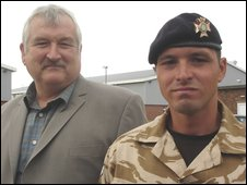 L/Cpl David Dennis with his father Roger