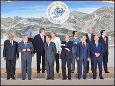 Leaders attending the G8 summit in L'Aquila
