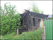 Burned Roma house