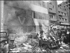Burning police station in Tehran 11.2.79