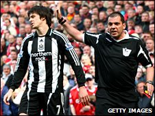 Joey Barton is sent off against Liverpool