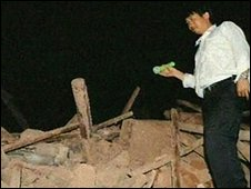 Scene of Thursday's earthquake in south-western China
