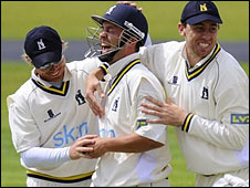 Trott celebrates his freak 'catch'