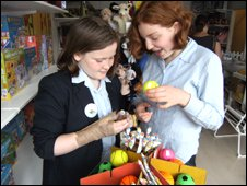 Two girls in toy shop