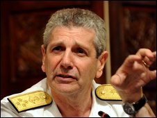NATO Military Committee Chairman Admiral Giampaolo Di Paola gives a press conference in Islamabad on July 9, 2009