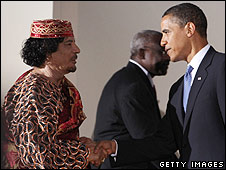 Libyan leader Muammar Gaddafi and US President Barack Obama in Italy